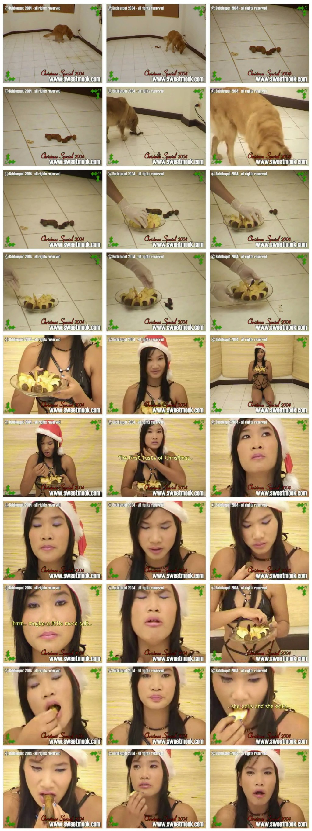 [Sweetmook.com] Asian girls are eating dog shit Merry Christmas - 01 [Scat, Piss, Zoo]