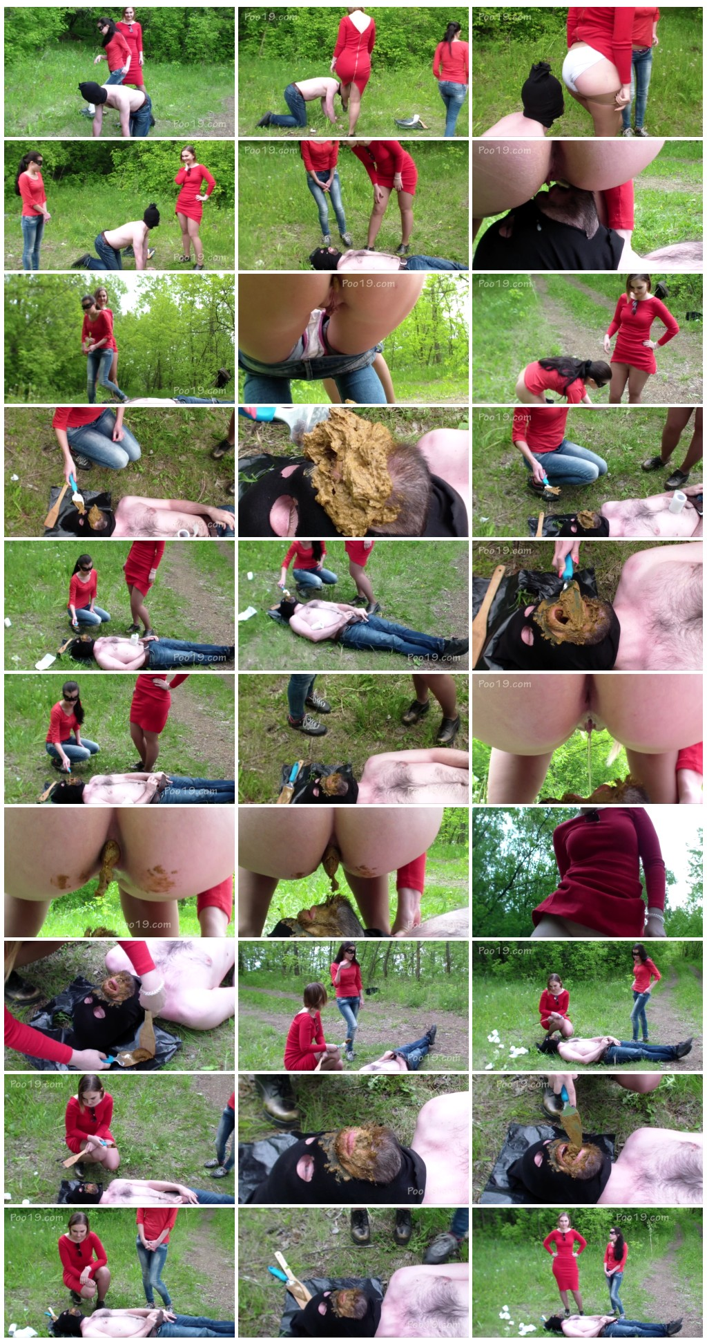 [Poo19.com - ScatShop.com] SmellyMilana - 2 girls used live toilet in woods  [Scat, Human Toilet, Humiliation, Toilet Slavery]