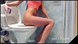 Sweet girl Christina pooping in toilet- Smelly Milana  [New scat solo, kaviar scat]