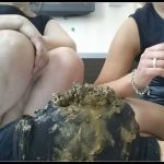 2 Ladys abuse a Toiletslave -Toilet Humiliation [scatting domination, femdom scat]