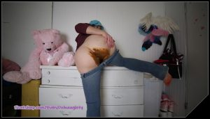 Shitty Jeans and dirty dildo pussy fuck- BabyDollNaughty scat