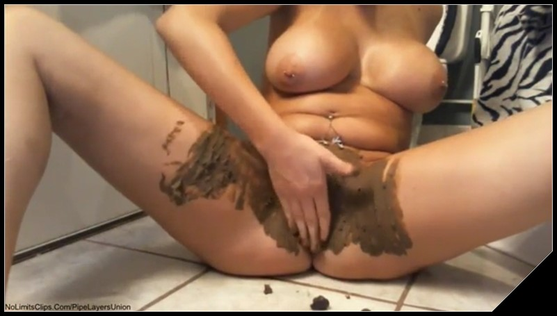 Girl with big tits poops and smears poop cover - Girl with big tits poops and smears poop [Scat, shit,defecation,smearing,masturbation]
