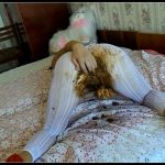 BigTitsAlisa - White Pantyhose Full of Shit [Scat solo, shit, defecation, shitty ass, dirty pantyhose, big shit, smearing, masturbation]