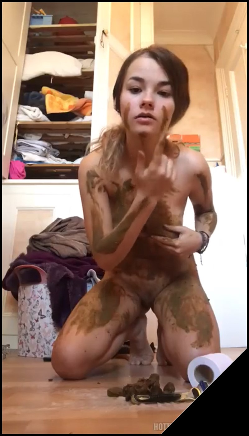 Cutest Fucking Teen Plays With and Tastes Her Own Shit Part [Scat solo, shit, defecation, Smearing, Masturbation]