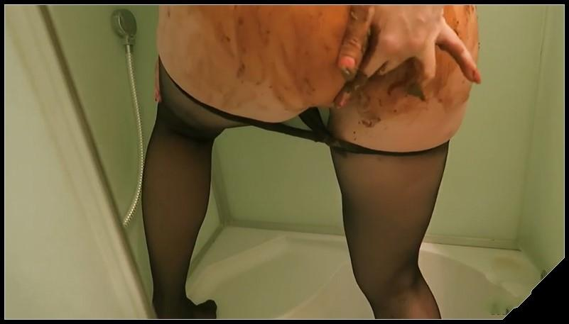 Hot ass girl shits in shower smears her sexyass and licks so [Scat solo, shit, defecation,  Dirty Pantyhose, Big Shit, Smearing, Masturbation , Dirty Ass]