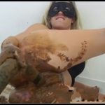 Scat Milf Fucks Shitty Black Dildo [Scat solo, shit, Smearing, Dildo masturbation, Fisting, Dirty Ass]