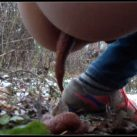 Alina pooping in autumn forest [Scat , shit, defecation, Pissing]